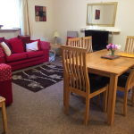 Mall House, self-catering apartment in Montrose, dining area and sitting room
