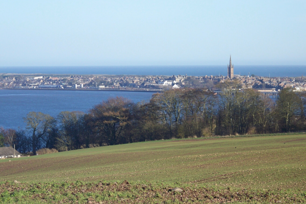 Looking towards Montrose town from the countryside