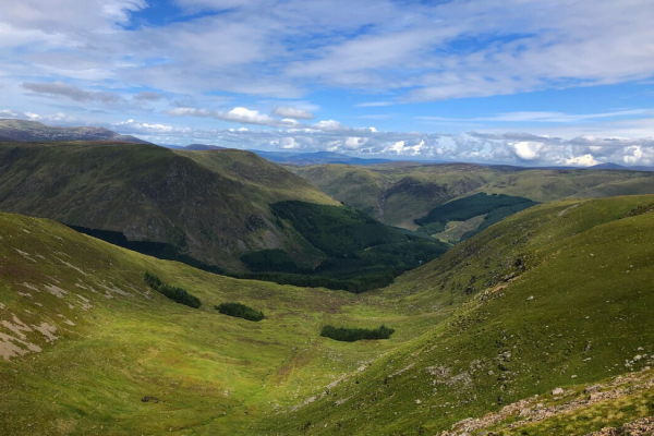 The view from the summit of Dreish Munro in Anugs