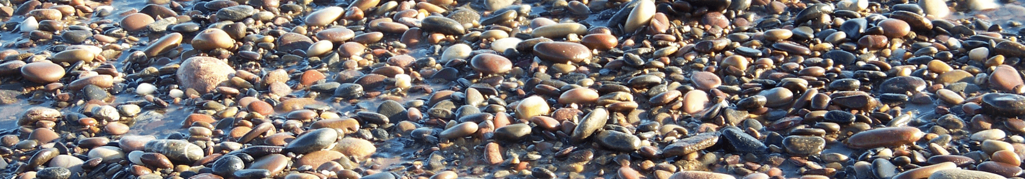 Pebbled beach close up